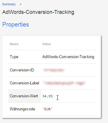 GELÖST: Google Tag Manager GTM Adwords Conversion Tracking Wert undefined